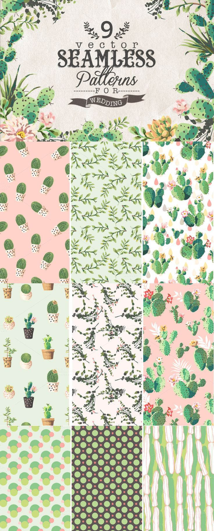 9 Vector seamless patterns by Graphic Box on Creative Market $7