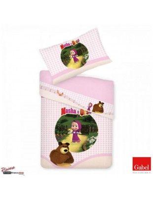 parure lenzuola rosa con masha e orso #mashaeorso #bed