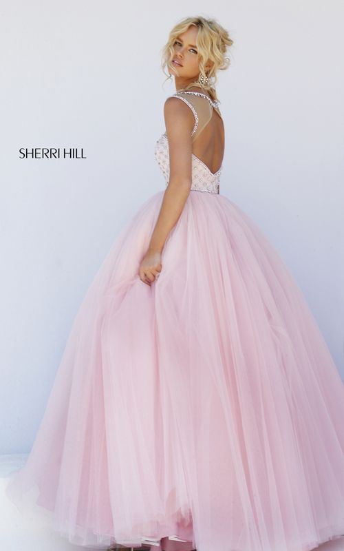 Long Pink Sherri Hill 50008 Beaded Tulle Illusion Prom Dress
