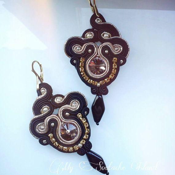 Black, gold and taupe soutache earrings, Swarovski Rivoli -Greige