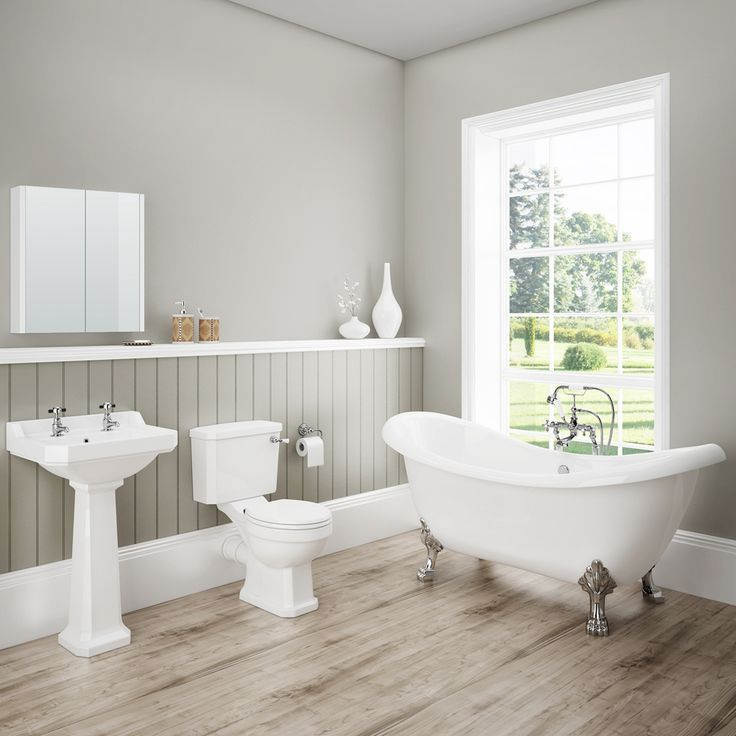 Discover the beautiful lines of our Darwin Traditional Bathroom Suite. Features a toilet, basin and gorgeous freestanding bath. Now at Victorian Plumbing.