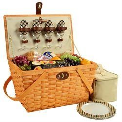Modern Picnic Basket for Four (00655644088589) Includes coordinating melamine plates and cotton napkins, glass wine glasses, stainless steel flatware, a corkscrew and a convenient food cooler. Fully lined and hand woven. Vintage look. Swivel wood handles and faux leather straps and closure. Made from wood slat. Honey and London finish. 19.25 in. L x 11.25 in. W x 11 in. H (7 lbs.). Our American Style Settler basket has a romantic feel.