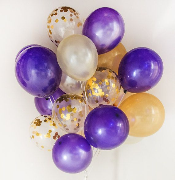 Gold & Purple, Confetti balloons - celebration, set of 14 or 20 or 40 , wedding, birthday, party :-) - AU Free shipping