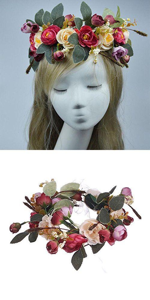 AWAYTR Bohemia Camellia Flower leafy Fairy Halo Floral Crown Hair Wreath Wedding Headpiece (Red & Beige)