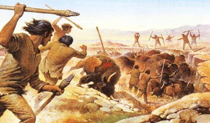De jagers jagen op de bizons voor voedsel.  Voedsel hoort bij economie. Economie is een van de middelen van bestaan.