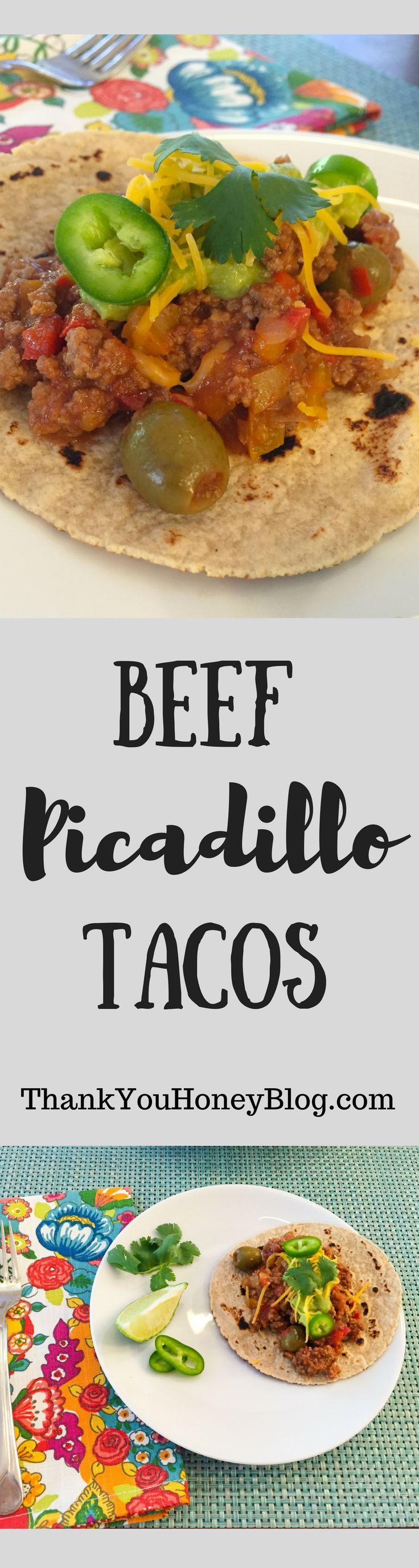Beef Picadillo Tacos for Taco Tuesday dinner! Click through & PIN IT! Follow Us on Pinterest + Subscribe to ThankYouHoneyBlog(dot)com, Beef Picadillo, Recipe, Cuban- Inspired, Tortillas, Beef Picadillo Tacos, Supper, Main Dish, Tacos, Easy Recipe, Simple