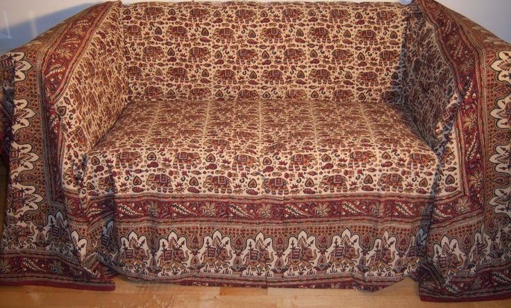 Cotton Hand Printed Elephant Design Throw Superking Size Cms   Extra Large  3 Seater Sofa Throws   Shop By Size Sofa Throws
