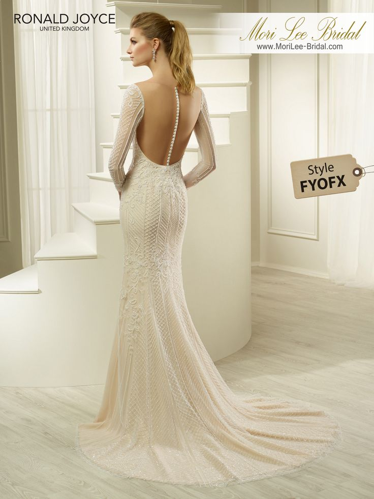 Style FYOFX HATSYA TULLE AND CHIFFON DRESS WITH DELICATE BEADING, SLEEVES AND AN ILLUSION CUT-OUT BACK. PICTURED IN IVORY/NUDE. AVAILABLE IN 3 LENGTHS: 55', 58' AND 61' COLOURSIVORY, IVORY/NUDE
