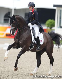 Charlotte Dujardin and Valegro at Rotterdam 2013 with a perfect uphill flying change.
