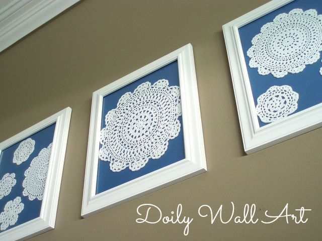 Check out this pretty framed doily wall art from The Pretty Bee. Inspiration for Grandma M's hand sewn doilies. Green backing to match dinning rm.