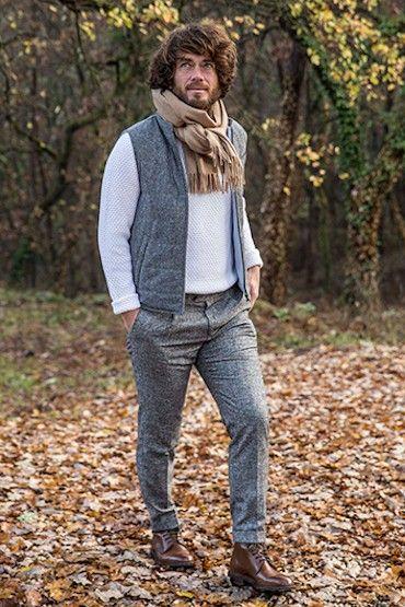 946162cdfea5f Gilet gris en tweed italien laine-cachemire et Climashield® en 2019    !!!Historic, Formal, Casual, Work, & Costumes. (Attire/Footwear: Men  Predominating) ...