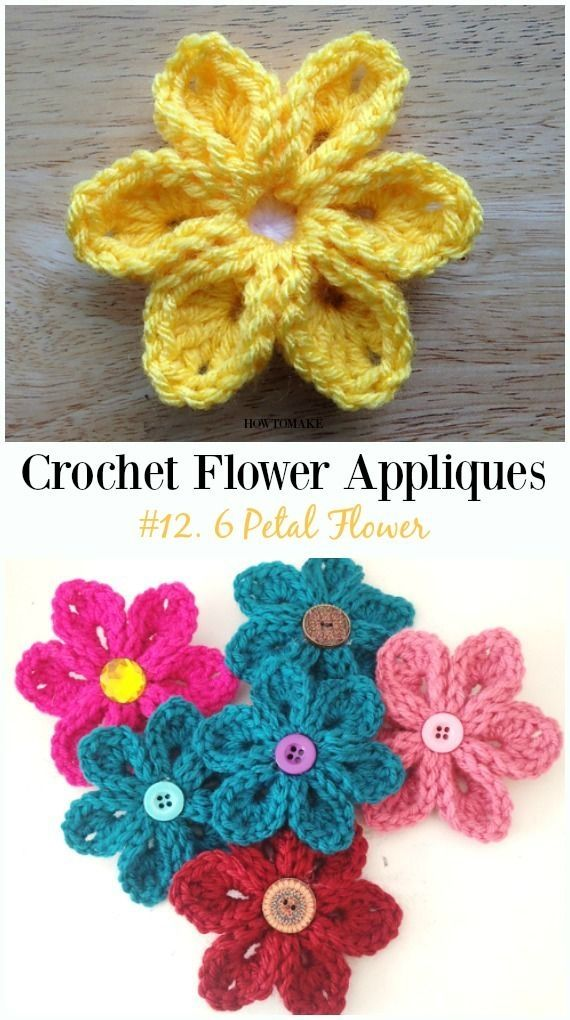 Easy Crochet Flower Appliques Free Patterns For Beginners Crafty