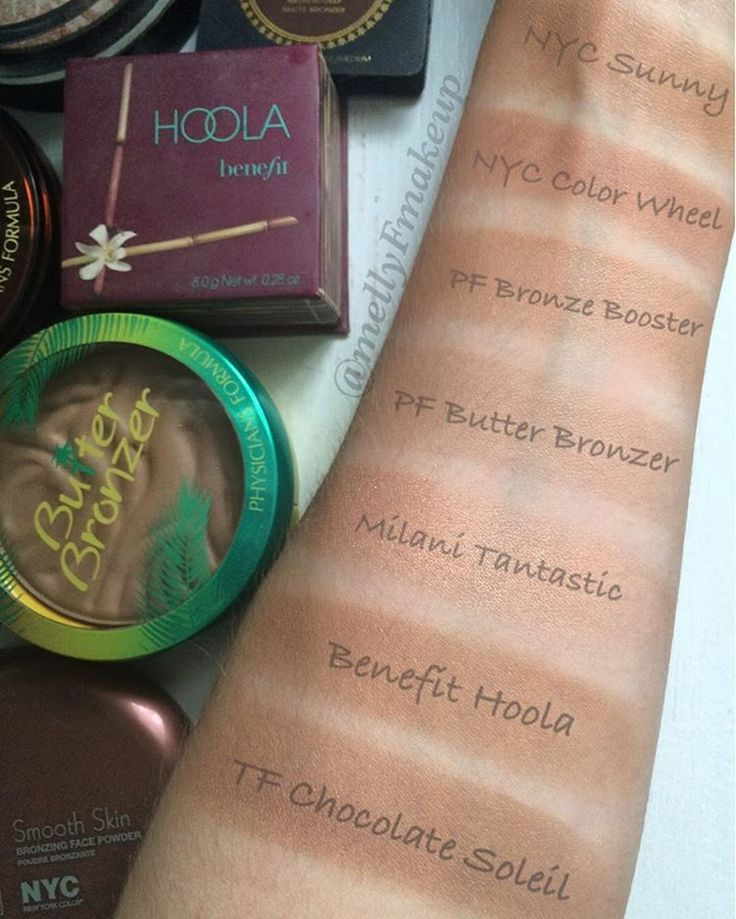 NYC Bronzer in Sunny, NYC Color Wheel in All Over Bronze Glow, Physicians Formula Bronze Booster in Medium to Dark, Physicians Formula Butter Bronzer in Bronzer, Milani Tantastic Face and Body Bronzer in Fantastic in Gold, Benefit Hoola bronzer, and Too Faced Chocolate Soleil bronzer. Follow my instagram @mellyfmakeup for more!