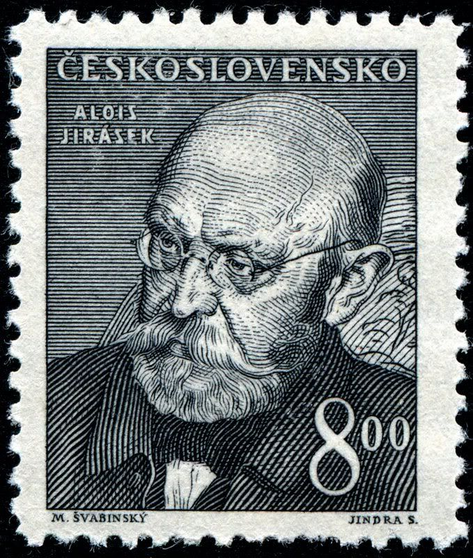 Checoslovaquia 1949 - Alois Jirásek fue un escritor checo autor de novelas históricas y obras de teatro . Jirásek era un profesor de secundaria hasta su retiro en 1909. Él escribió una serie de novelas históricas imbuidas de fe en su país y en el progreso hacia la libertad y la justicia. Fue nominado para el Premio Nobel de Literatura en 1918, 1919, 1921 y 1930.