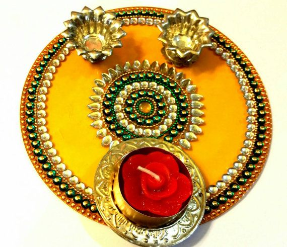 17 best images about aarti thali pooja thali decoration for Aarti thali decoration with kundan