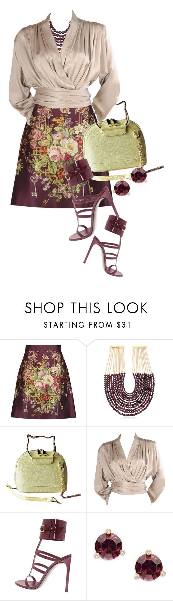 """""""Dolce & Gabbana Printed silk and wool-blend satin mini skirt"""" by queenrachietemplateaddict ❤ liked on Polyvore featuring Dolce&Gabbana, Rosantica, Yves Saint Laurent, Gucci and Kate Spade"""