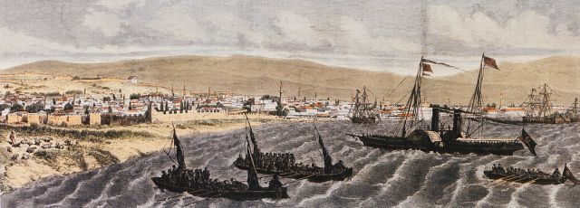 Turkish battleships approach the port of Thessaloniki in the summer of 1876, at the time of Herzegovina uprising. From German newspaper.