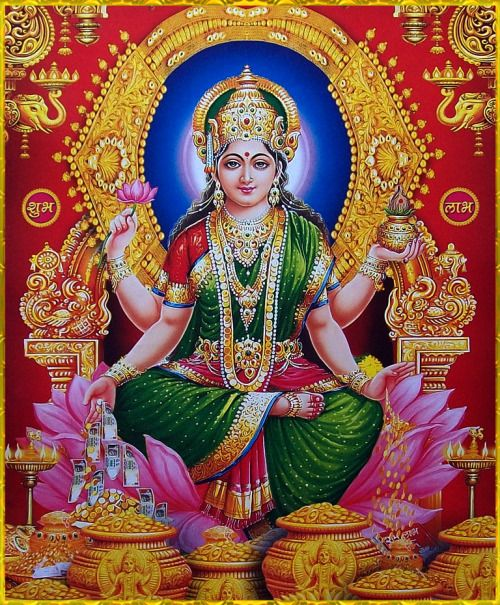 """☀ SHRI LAKSHMI DEVI ॐ ☀""""You are the mother of all creatures, as that God of gods, Hari, is their father. And this universe, consisting of moving and nonmoving entities, is presently permeated by you, as well as Vishnu.""""~Lakshmi-Stuti"""