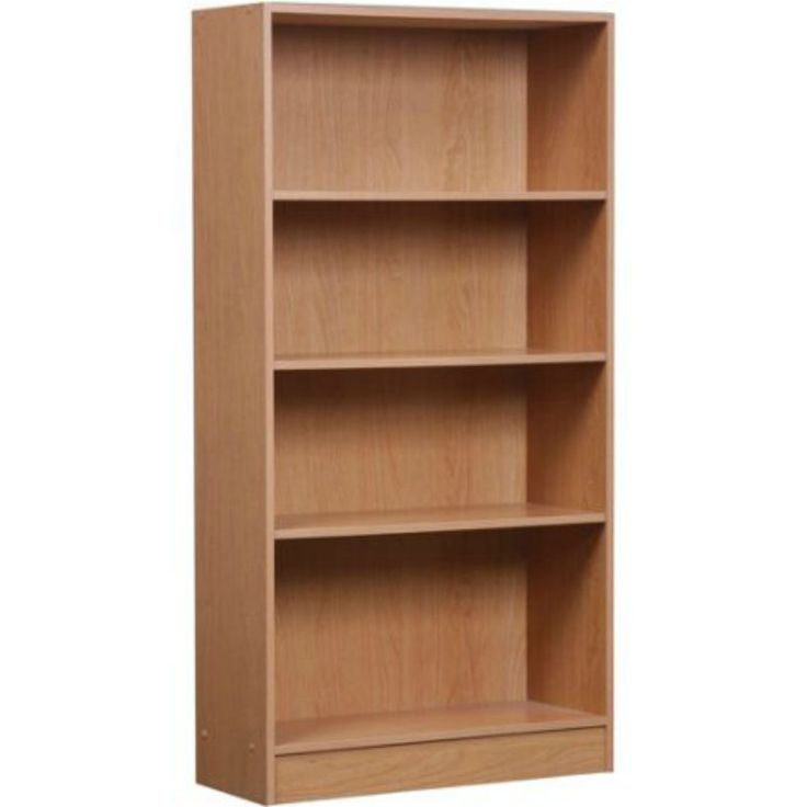 Orion 4-Shelf Bookcase Wood Oak Display Bookshelf Storage Adjustable Shelves New #Mylex #Classic
