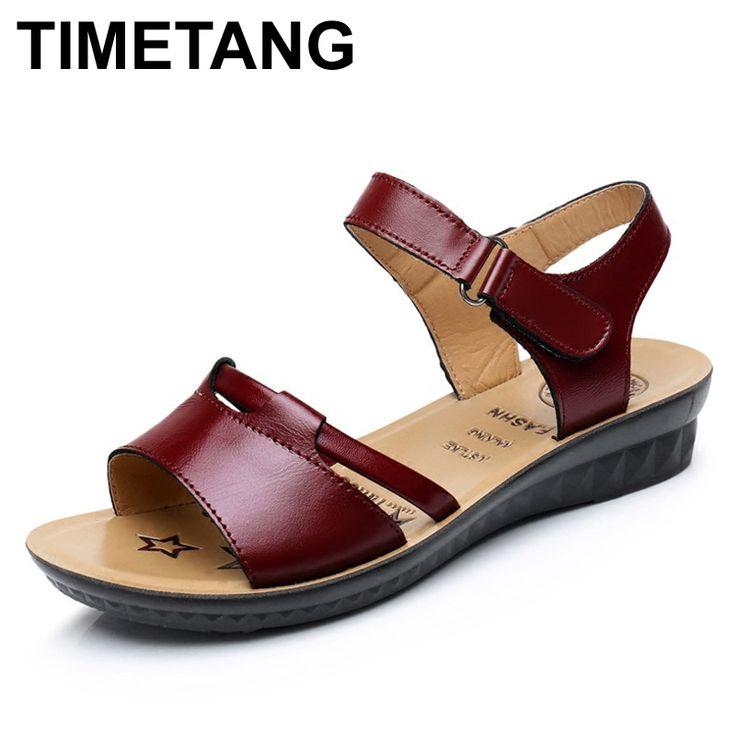 14.00$  Buy here - TIMETANG Summer Shoes Women Sandals Leather fashion ladies sandals soft bottom non-slip black Woman Flat sandals Plus Size 35-41  #magazine