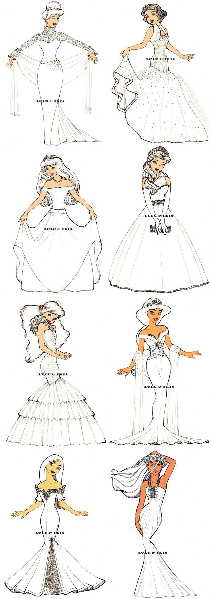 Disney princesses in wedding dresses