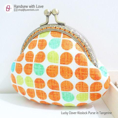 Lucky Clover Kisslock Purse in Tangerine – Queenbels