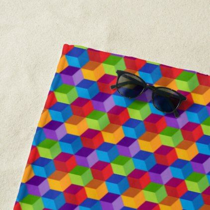 Rainbow Colorful Block Cube Pattern Beach Towel - patterns pattern special unique design gift idea diy