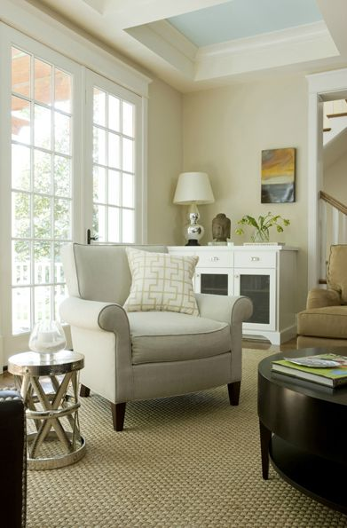 Suzie: Liz Levin Interiors - Beautiful living room design with warm beige walls paint color, ...