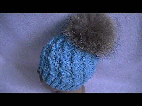Вязание шапки узором с ромбами на круговых спицах. - YouTube