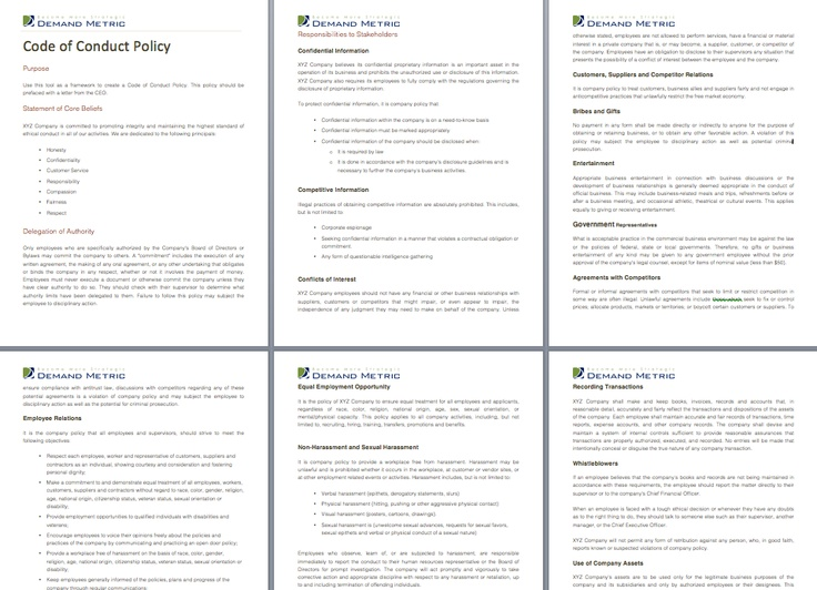 Code of conduct policy a policy template to outline for Code of conduct sample template