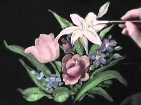 How to Paint a Roses and other flowers with a Rosebud Brush by Marjorie Harris Clark