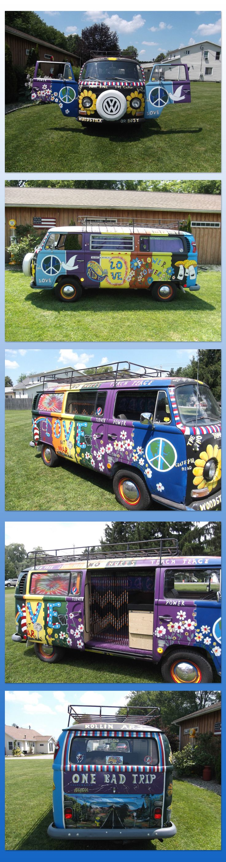 1969 Bay Window Volkswagen Camper Hand apinted by a well known upstate New York artist, Bus interior has been all restored and looks awesome with its woodwork and purple shag carpet. Bus runs and drives great. New tires ☮ re-pinned by @wfpblogs see more #VWBus on https://www.pinterest.com/wfpblogs/vw-bus/