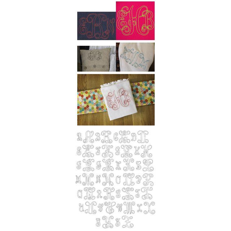 Bean floss stitch vine monogram machine embroidery