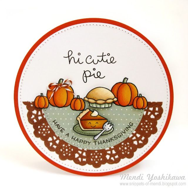 Lawn Fawn Autumn Thanksgiving Cards by Mendi Yoshikawa (using Happy Harvest, Happy Feast & Cutie Pie)