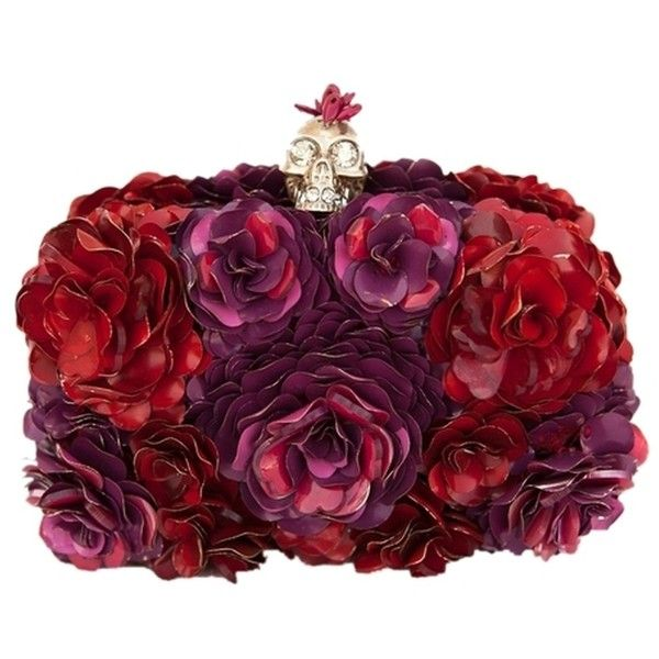 Pre-owned Alexander Mcqueen Floral Rose Applique Red & Purple Clutch (€1.885) ❤ liked on Polyvore featuring bags, handbags, clutches, purple handbags, rose purse, floral handbags, red clutches and floral print handbags