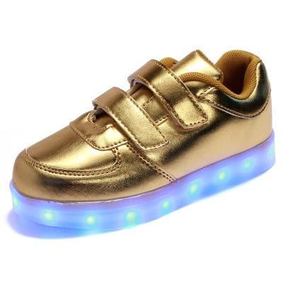 New Kids Cool USB Charging LED Light Running shoes PU Leather Casual Boy&Girl Party Luminous Antiskid Bottom Children Sneakers