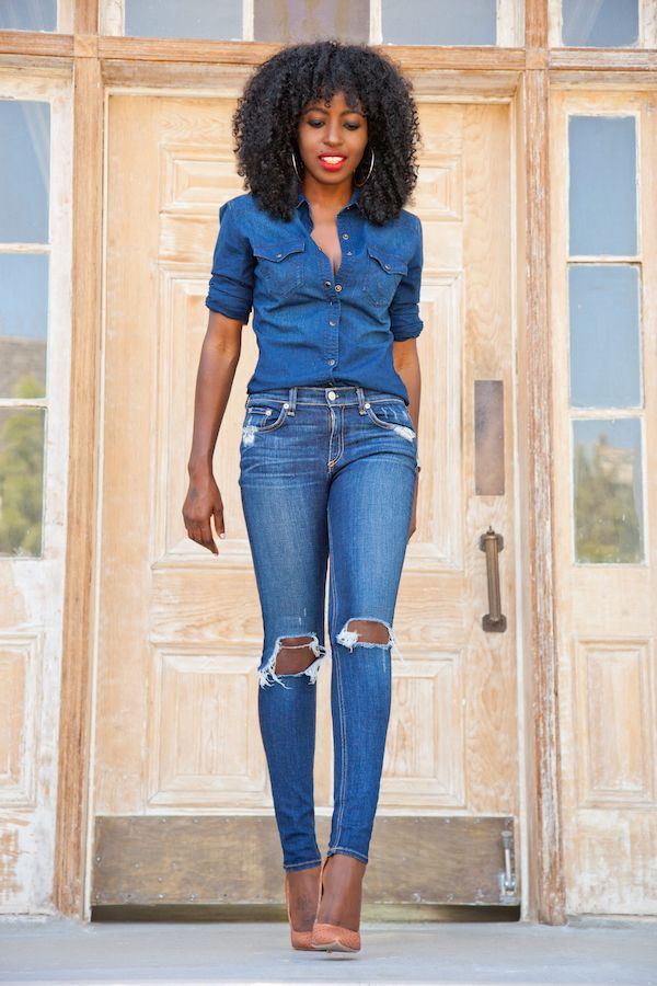 Denim Shirt: True Religion | Jeans: Rag & Bone | Shoes: Gianvito Rossi. http://FashionCognoscente.blogspot.com