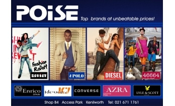 Poise has great discounts on top brands like Diesel, Polo and Soviet http://www.couponsa.co.za/coupon.php?coupon=131#