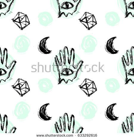 Vector hand draw seamless pattern with mystic symbols: moon, diamonds, hand, eye. Background for printing brochure, poster, textile design, wear. Modern trendy graphic print for hipsters.