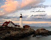 Arte Religioso - Salmo 27 - Fotografía de un Faro - Foto Christian - Salmo 27:1 - Arte Cristiano - Arte Escritura - Spanish Bible Verse Art