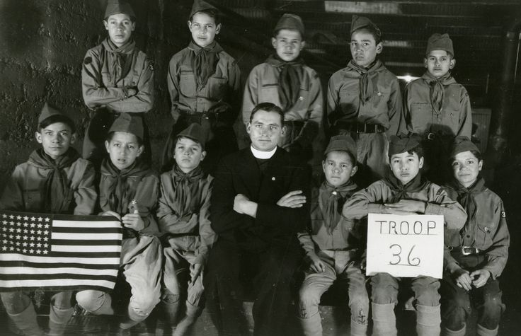 Pine Ridge Boy Scouts, 1940? – 1945? Boy Scout Troop 36 (Oglala), Holy Rosary Mission, Pine Ridge Indian Reservation, Pine Ridge, South Dakota, 1940? – 1945?
