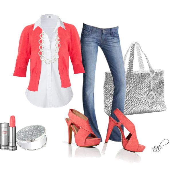 Coral & denim. ♥ these shoes.Fashion Style, Coral Denim, Cute Outfits, White Shirts, Fashion Clothing Shoes Jewelry, Jeans Outfit, Casual Fridays, Long Necklaces, My Style