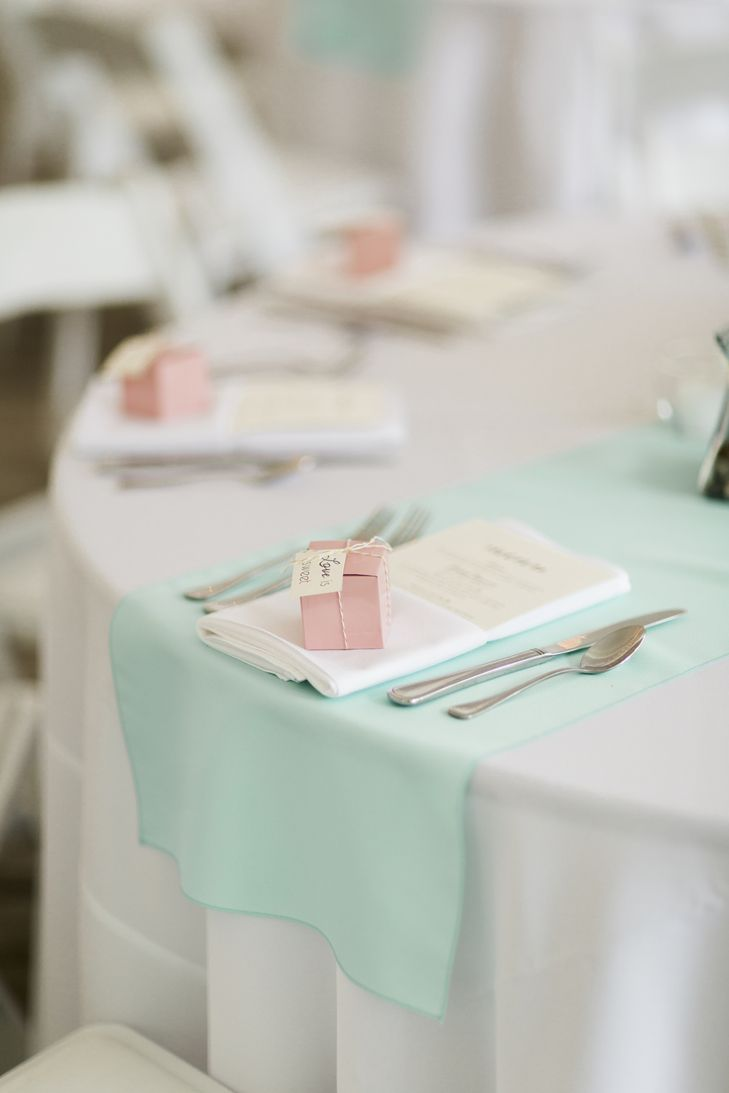 Mint Linens and Pink Wedding Favors | Harlow Bliss Photography https://www.theknot.com/marketplace/harlow-bliss-photography-clinton-ny-763770