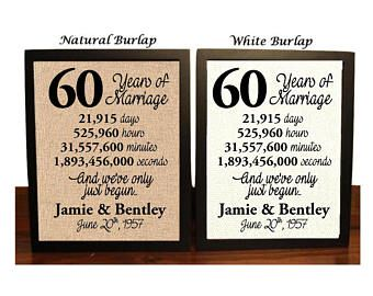60th Anniversary   60 Year Anniversary   60th Anniversary Gift   60 Years Together   60th Anniversary gift her   Minutes   Seconds   Hours
