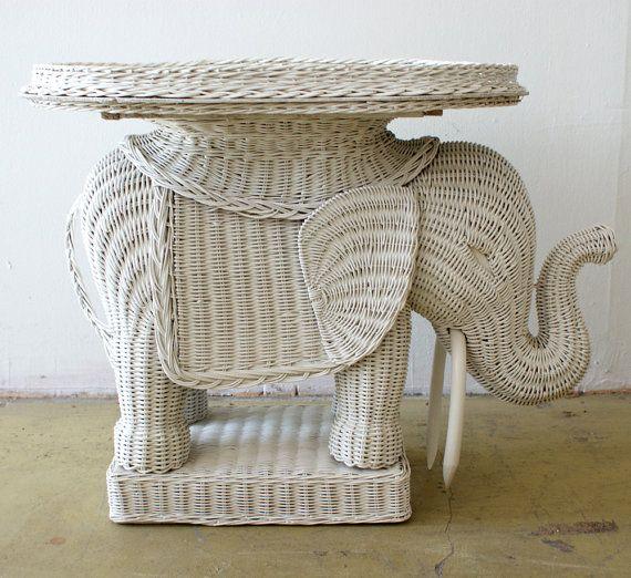 Vintage Wicker Elephant Tray Side Table Hollywood Regency Decorative