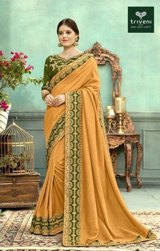 4ee9f514386 Triveni Farmaish Designer Embroidered Vichitra Fabric Party Wear sarees  Dealer Surat