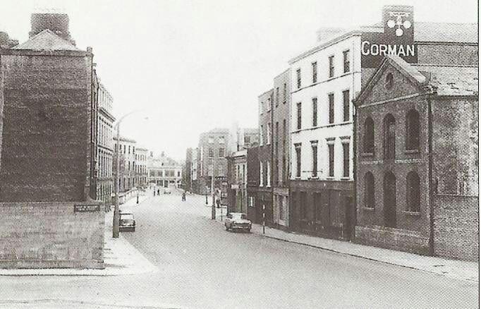 Bottom of Winetavern St before widening and demolition.