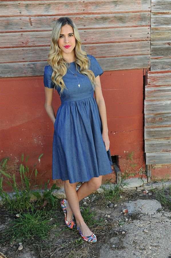 Our Midi Chambray Dress is lightweight and stylish perfect dress for all year…