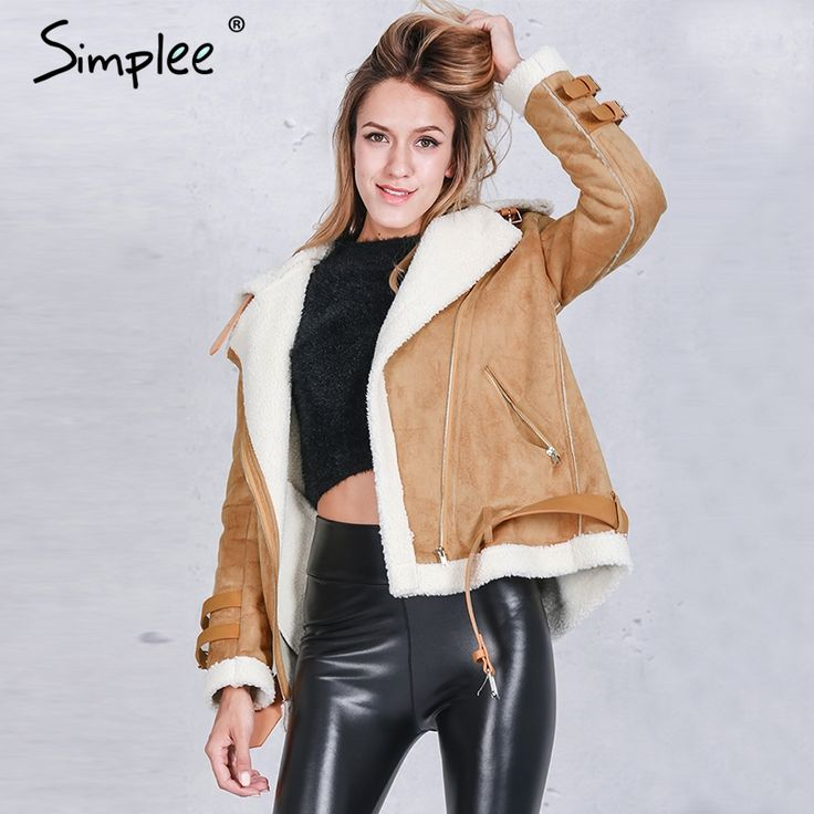 US $37.99 -- Simplee Vintage suede lambswool short jacket coat Winter black warm hairly collar jacket Women autumn belt female overcoat aliexpress.com