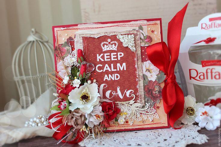 Купить Открытка валентинка - коралловый, 14 февраля, 14 февраля подарок, подарок ручной работы